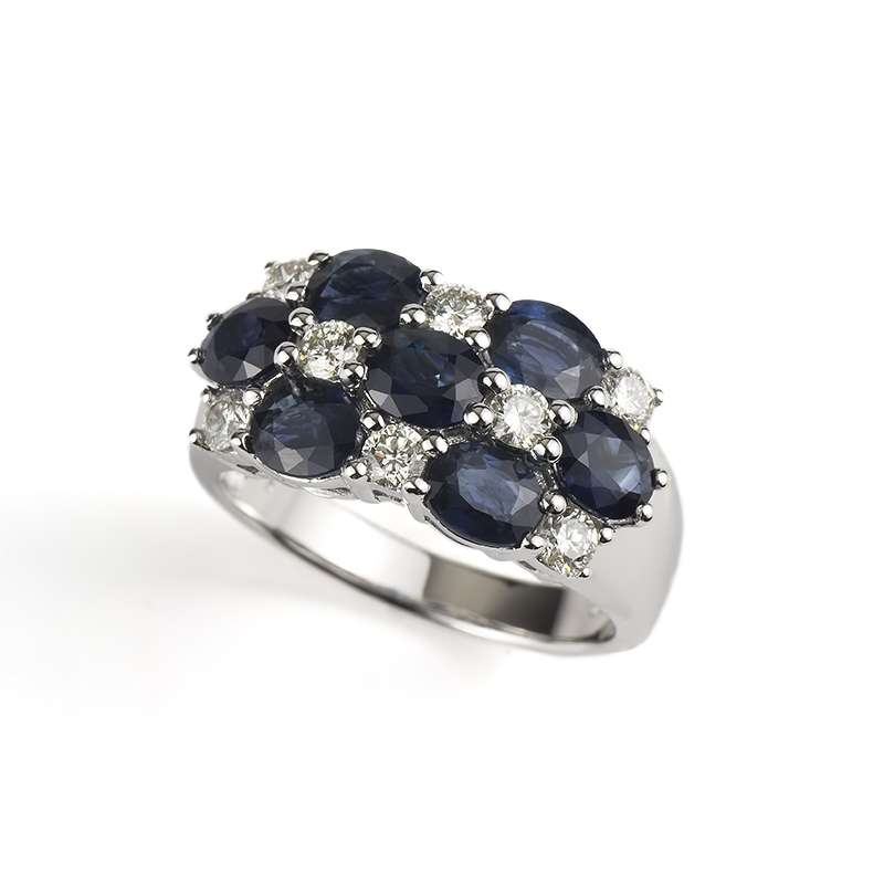 18k White Gold Diamond and Sapphire Checkerboard Ring 0.56ct